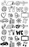 Travel icons set / doodles hand drawn Stock Photo