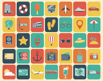 Travel Icons Set. Flat design style. Vector Royalty Free Stock Image