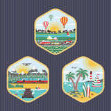 Travel icons set flat design. Vector illustration. Travel icons set flat design. Icons with images of different stories of travel Royalty Free Stock Images