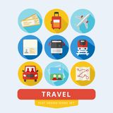 Travel icons set flat design vector illustration. Travel icons set illustration plane bus train flat design style vector Stock Image