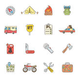 Travel icons set, flat outline style Stock Image