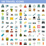100 travel icons set, flat style. 100 travel icons set in flat style for any design vector illustration stock illustration