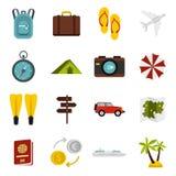 Travel icons set, flat style Stock Images