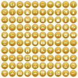 100 travel icons set gold. 100 travel icons set in gold circle isolated on white vector illustration Royalty Free Stock Photo
