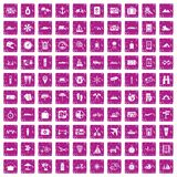 100 travel icons set grunge pink. 100 travel icons set in grunge style pink color isolated on white background vector illustration stock illustration