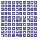 100 travel icons set grunge sapphire. 100 travel icons set in grunge style sapphire color isolated on white background vector illustration royalty free illustration