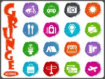 Travel icons set in grunge style Royalty Free Stock Images