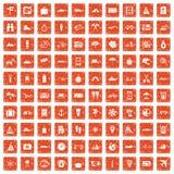 100 travel icons set grunge orange. 100 travel icons set in grunge style orange color on white background vector illustration vector illustration