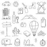 Travel icons. Set of hand drawn holiday, travel icons Royalty Free Stock Photo