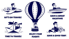 Travel icons set. Happy man traveling by car, airplane, boat, paper boat, hot air balloon Stock Photo