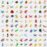 100 travel icons set, isometric 3d style Royalty Free Stock Photo