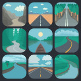 Travel Icons Set: Landscapes Royalty Free Stock Photos