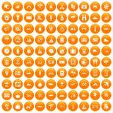 100 travel icons set orange. 100 travel icons set in orange circle isolated on white vector illustration Royalty Free Stock Photos