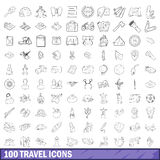 100 travel icons set, outline style. 100 travel icons set in outline style for any design vector illustration royalty free illustration