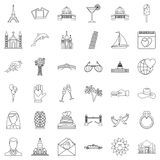 Travel icons set, outline style vector illustration