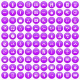 100 travel icons set purple. 100 travel icons set in purple circle isolated on white vector illustration Royalty Free Stock Photography