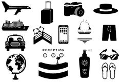 Travel icons set. Silhouettes of luggage, globe and transport. Black and white vector illustration Stock Images