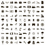 100 Travel Icons set, simple style. 100 Travel Icons set in simple style for any design Royalty Free Stock Image