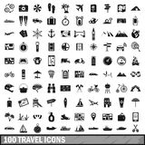 100 travel icons set in simple style Stock Photos