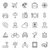 Travel Icons. Set of 25 thin line travel and vacation icons Royalty Free Stock Images