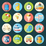Travel icons set. Travel tourism holiday vacation flat icons set of compass ice cream ship isolated vector illustration Royalty Free Stock Photo