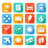 Travel Icons Set. Travel tourism holiday vacation flat icons set of map cocktail passport  vector illustration Stock Image