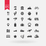 Travel icons set. Tourism signs collection. Vacation symbols  on white background. Flat design style. Royalty Free Stock Images