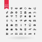 Travel icons set. Tourism signs collection. Vacation symbols  on white background. Flat design style. Stock Photo