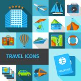 Travel Icons Set. Travel tourism and vacation decorative icons set with tickets hotel ship isolated vector illustration Stock Images