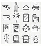 Travel icons set. Vector travel icons set 16 black color stock illustration