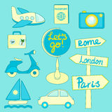 Travel icons set vector Royalty Free Stock Photography