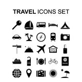 Travel icons set. Vector illustration. Travel icons set. Tourism silhouette symbols.  Vector illustration Royalty Free Stock Photo