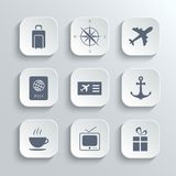 Travel icons set - vector white app buttons Stock Photography