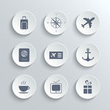Travel icons set - vector white round buttons Royalty Free Stock Photography