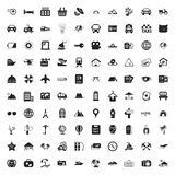 Travel 100 icons set for web. Flat stock illustration