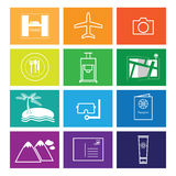 Travel icons set windows flat line Royalty Free Stock Photography