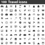 100 Travel icons. Simple black images on white background Royalty Free Stock Photography