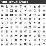 100 Travel icons. Simple black images on white background royalty free illustration