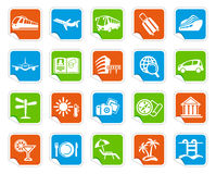 Travel icons on stickers Stock Photography