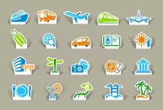 Travel icons on stickers Royalty Free Stock Photography