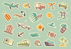 Travel icons on stickers Stock Photos