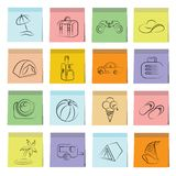 Travel icons sticky note paper. Set of 16 travel icons in colorful sticky note papers Stock Illustration