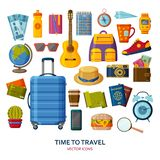 Travel icons with suitcase and sunglasses and guitar. Tourism items set royalty free illustration