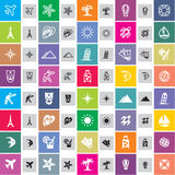Travel icons. 20 travel icons in two styles Royalty Free Stock Images