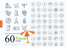 60 travel icons. Vacation icon set for web or services. 60 design line travel icons high quality, vector illustration stock illustration