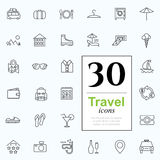 30 travel icons. Vacation icon set for web or services. 30 design line travel icons high quality, vector illustration Stock Image