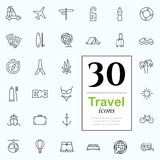 30 travel icons. Vacation icon set for web or services. 30 design line travel icons high quality, vector illustration Royalty Free Stock Photos
