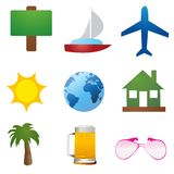 Travel icons vector Royalty Free Stock Photos