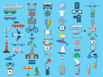 Travel icons vector set. A set of travel flat vector icons Royalty Free Stock Photography