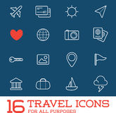 Travel Icons Vector Set. Great for All Purposes like Print Web or Mobile Apps Stock Photo